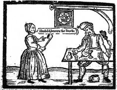 """""""This guy being berated by his wife in the popular broadside entitled a 'Statute For Swearers and Drunkards' from 1624 seems to be wearing either a light Monmouth or a stocking cap with a small tassel."""""""