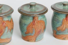 Ready to ship. Single cup. Stoneware teacup, pottery cup, ceramic mug, lidded, unique orange koi fish, jade greens, and sea blue glazes. on Etsy, $42.00