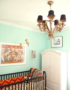 DIY gold chandelier, Robin's Nest by Benjamin Moore, Vintage Prints and Advertisements, Children's Armoire, Black Crib, Missoni for Target Crib Bedding