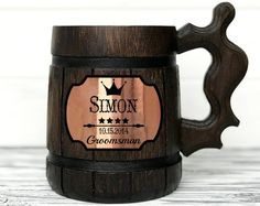Wooden Mug can be an ideal gift, whatever the occasion! It is perfect for Father's Day, Christmas, Birthday, Anniversary, or just gift for beer lovers. It is stunning idea as a personalized gift for him! This Beer Tankard is great gift for the groom to the wedding, the groom's best man and stag party and etc. This Wooden Beer stein is made to our high quality standards and includes a stainless steel inner coating, that will keep your beer colder, for longer… Gifts For Beer Lovers, Beer Gifts, Gifts For Him, Zelda Gifts, Wood Mug, More Beer, Beer Mugs, Personalized Mugs, Groomsman Gifts