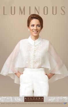 Filipiniana Top and Dress (Kultura), Modern Filipiniana Gown, Filipino Fashion, Mode Turban, Retro Mode, Philippines Fashion, I Dress, Blouse Designs, Couture Fashion, Fashion Dresses