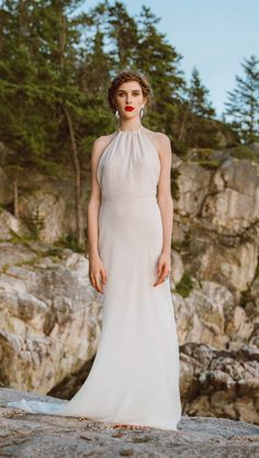 Shop affordable Halter Neck Sleeveless Backless Sheath Long Chiffon Wedding Dress at June Bridals! Over 8000 Chic wedding, bridesmaid, prom dresses & more are on hot sale. Strapless Lace Wedding Dress, Red Wedding Dresses, Chiffon Gown, Wedding Dress Sleeves, Lace Sheath Dress, Boho Wedding Dress, Bridal Dresses, Tulle Wedding, Cap Dress