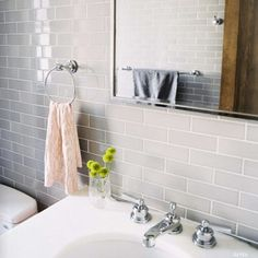Or Grayish tiles with white grout.