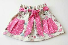 Sophia Paper Bag Skirt Pattern with Wide Waist Band and Cute Accent Pockets Little Girl Skirts, Skirts For Kids, Little Dresses, Little Girl Dresses, Toddler Skirt, Baby Skirt, Toddler Outfits, Kids Outfits, Sewing Kids Clothes