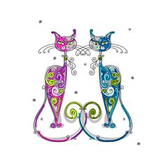 Amusing Christmas cats vector graphics 03