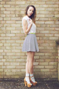 Girl in the Lens - striped skater skirt and socks and sandals