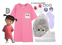 """Boo"" by leslieakay ❤ liked on Polyvore featuring L. Erickson, Topshop, Anya Hindmarch, Moschino, Vans, disney, disneybound and disneycharacter"
