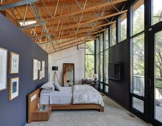 contemporary bedroom by MANI & Co - add a purple wall in basement bedroom?