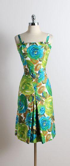 vintage 50s dress | Femme Fashions 1950s dress | floral party dress l/xl | 5722