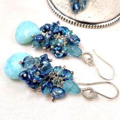 Blue Keishi peacock pearl earrings dangle beautiful blue Peruvian opals !