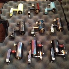 Available machines. Ranging from $220 to $300. They all can push any grouping and will work with cartridges. #ancientirons #handmade #rotarytattoomachine #handmaderotary #tattoogearforsale