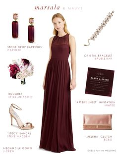 Bridesmaid dress in the color of the year Marsala. Wine-colored bridesmaid dresses.