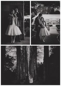 Bride wearing fur coat and vintage dress from Lace & Co. - Sarah by House of Mooshki
