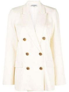 Opening Ceremony Double-breasted Straight-fit Blazer In White Opening Ceremony, Blazers For Women, Black Cotton, Double Breasted, Suit Jacket, Women Wear, Coat, Fashion Design, Clothes