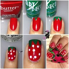 Diy Strawberry Nail/ or watermelon nails with black dots