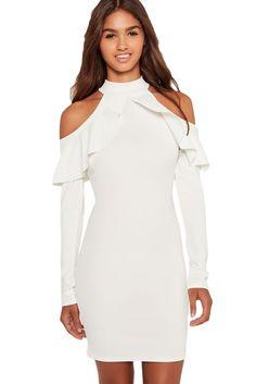 Her Adorable High Neck White Frill Open Shoulder Long Sleeve Dress