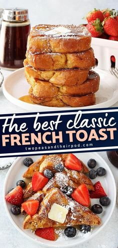 Start your Christmas mornings with this classic French Toast Recipe! This light and tasty breakfast idea is easy to make and so delicious to eat. The Brioche bread is rich, buttery, and the ideal bread for french toast. Make this for the holidays! Fluffy French Toast, French Bread French Toast, Best French Toast, Best Thanksgiving Recipes, Easy Holiday Recipes, Delicious Breakfast Recipes, Yummy Food, Tasty, Perfect Breakfast