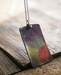Fired Copper pendant on sterling silver chain by jennreeseSEVEN, $38.00