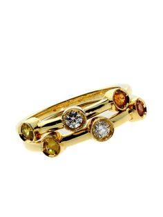CHANEL DIAMOND & MULTICOLOR SAPPHIRE STACKING RINGS