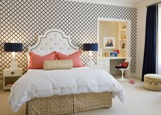 Headboard, wallpaper, coral