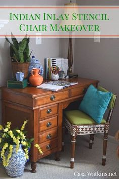 thrift store chair makeover with indian inlay stencils, painted furniture