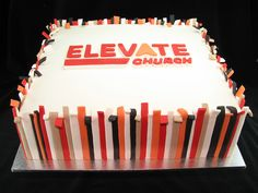 "A 14"" square chocolate mud cake made for the launch of Elevate Church in Torquay."