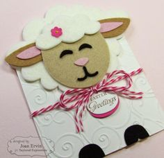 Stamping with a Passion!: Sack It - Lamb Lamb is cut from felt looks like a cloud shape could be used for wool Eid Crafts, Easter Crafts, Kids Cards, Baby Cards, Diy Easter Cards, Envelopes, Sheep Cards, Horse Quilt, Easter Lamb