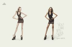 Eating disorder awareness ad shows models depicted as fashion sketches so their body's are incredibly thin.