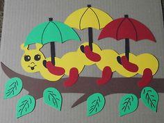 Fensterbilder Tonkarton Herbst Deko Raupe Schirm rot gelb 34 cm bunt NEU + • EUR…