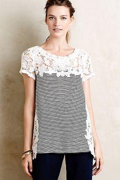 Lace Edge Tee  #anthropologie love the simple pattern and the lace