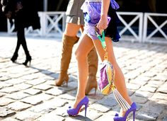 Purple loubies! Love the outfit color.