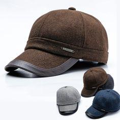 8edc00f09554c Men winter Baseball Cap Curved brim Hat Warm Earflap Sport Snapback Flap  Cap  fashion