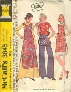 Vintage McCall's 3845 Sewing Pattern Misses' Apron or Tunic by lavenderskye on Etsy Vintage Apron Pattern, Retro Apron, Aprons Vintage, Sewing Aprons, Mccalls Sewing Patterns, Vintage Sewing Patterns, Apron Patterns, Dress Patterns, Apron Dress