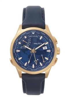 Keep reliable time in impeccable style with the Nautica Shanghai men's fashion watch. Boasting a sleek rose gold case, dapper leather strap, and distinguished world map face, this watch adds a touch of refinement to any ensemble. Sleek Rose Gold, Best Sports Watch, Swiss Army Watches, Watches Online, Fashion Watches, Shanghai, Blue Gold, Smartwatch, Designer Earrings