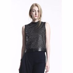 COLE COOL Women's Two-Way Sequin Vest with Black Lambskin Leather Binding #COLECOOL #CropTop #Casual