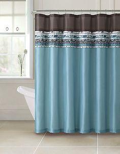 Beautiful Poetica Faux Silk Aqua Blue Teal Brown Turquoise Fabric Bathroom Shower  Curtain