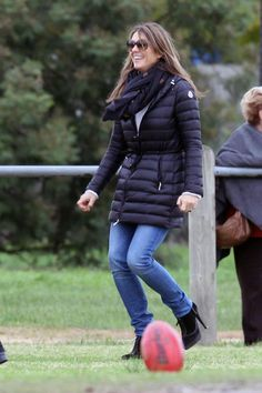 Elizabeth Hurley looking outdoor-glam wearing a Moncler quilted down jacket. Shop Moncler here http://www.lineafashion.com/store/womens-moncler-22?orderby=quantity=desc