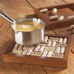 Cork trivet. We made a cork serving tray, a clever way to reuse all those corks we had stashed away!