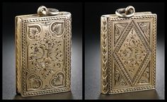 Antique Victorian book locket in engraved gold.