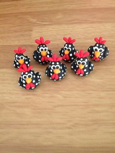 Rooster polymer clay figurines