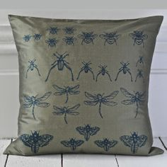 Silk cushion with hand printed design. square : x silk includes duck feather cushion pad dry clean only . Hand Printed Fabric, Cushion Pads, Textile Art, Olive Green, Personalized Gifts, Unique Gifts, Print Design, Cushions, Textiles
