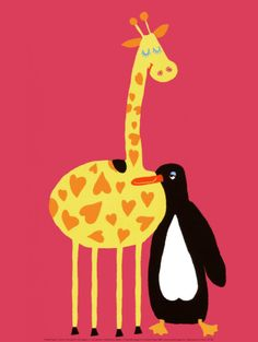 Love Between a Giraffe and a Penguin Print by Andree Prigent -Repinned by Totetude.com