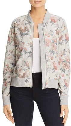 Three Dots Floral Print Knit Bomber Jacket