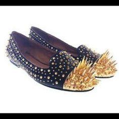 Jeffrey Campbell Shoes - MAKE OFFER!!!! RARE VHTF SPIKED GOLD JC FLATS 8.5