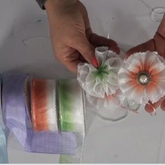 Pull ribbon from Mon Ami Gabby - makes it much easier to make ribbon flowers than with traditional wired ribbon.