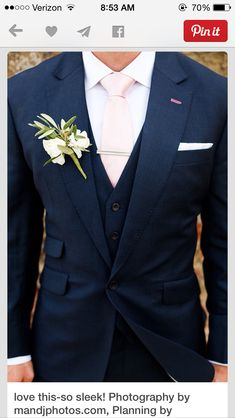 Wedding Suits Wedding Ideas By Colour: Navy and Blush Wedding Theme - Groom style Blush Wedding Theme, Wedding Colors, Wedding Blue, Trendy Wedding, Navy Wedding Suits, Wedding Groom Attire, Midnight Wedding, Wedding Flowers, Wedding Summer