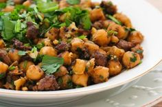 Spicy Sauteed Chickpeas (Garbanzo Beans) Recipe with Ground Beef and Cilantro; I've made this over and over and enoyed it every time!  [from Kalyn's Kitchen] #GlutenFree #LowGlycemic
