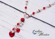 Swarovski, Collier, Collier de perles, Collier en cristal, Collier rouge,  rouge 53f265663a61