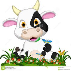 Cute Cow Cartoon On Flower Garden Stock Illustration - Illustration of domesticated, comic: 40632938 Cow Cartoon Images, Cute Cartoon, Cartoon Cow, Farm Animals, Cute Animals, Cartoon Mignon, Cow Baby Showers, Cartoon Flowers, Garden Illustration