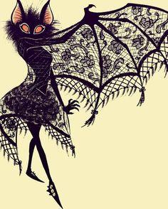 "Murciélago ""Bat,"" by Larissa Rivero at ArtStation. Love this Halloween Illustration! Art And Illustration, Illustrations, Halloween Illustration, Fantasy Kunst, Fantasy Art, Art Et Design, Gothic Art, Halloween Art, Vintage Halloween"